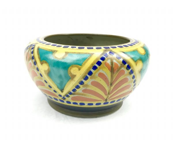 Gouda Pottery Bowl / Vase / Art Deco / Blue / Turquoise / Yellow / 1927